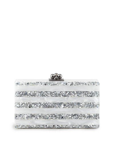 Jean Striped Acrylic Clutch Bag