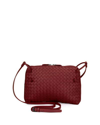 Intrecciato Small Zip Crossbody Bag, Barolo