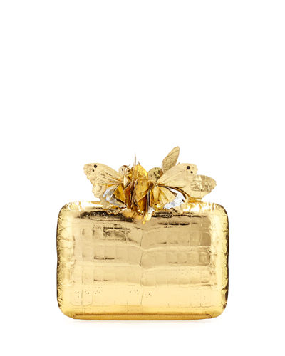 Metallic Butterfly Box Clutch Bag