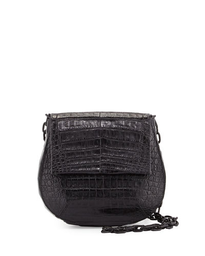 Round Flap-Top Crocodile Crossbody Bag