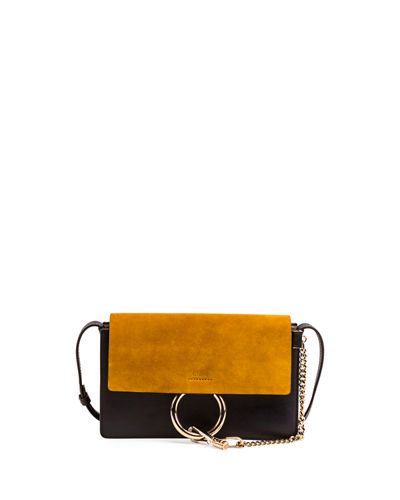 Faye Small Suede Shoulder Bag, Full Blue/Mustard