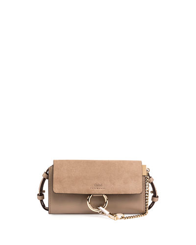 Faye Suede/Leather Wallet-on-a-Strap