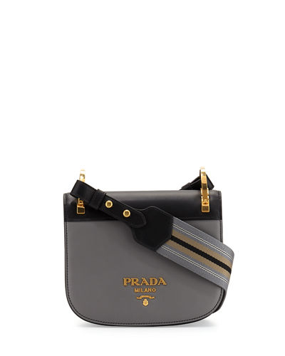 Bicolor Leather Saddle Bag