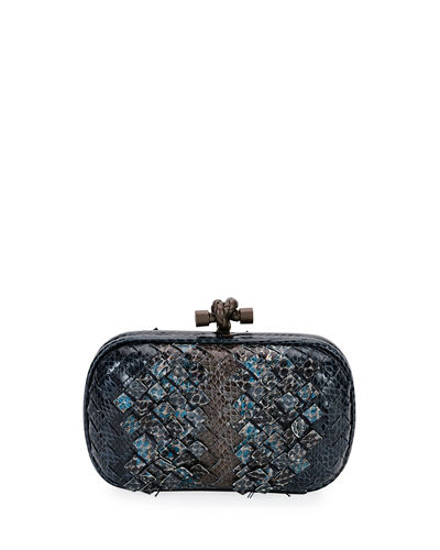 Woven Snakeskin Ayers Knot Clutch Bag