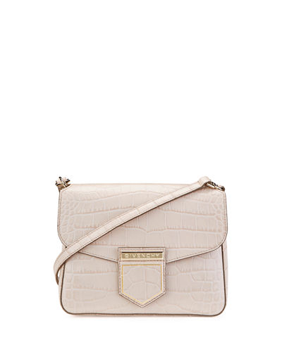 Nobile Mini Crocodile-Embossed Shoulder Bag