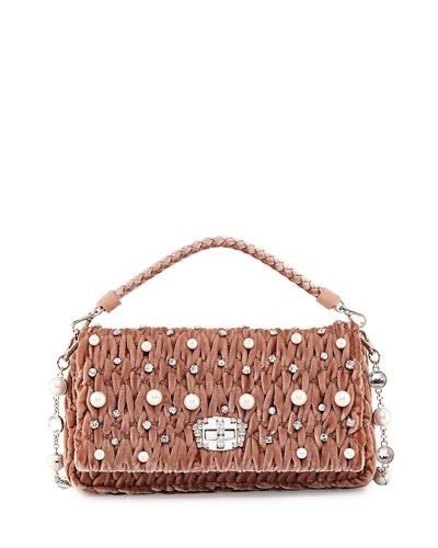 Crystal Borse Embellished Velvet Shoulder Bag