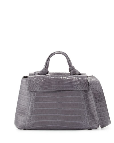 Tie New Flap Crocodile Top-Handle Bag