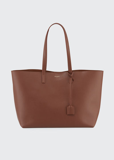 Large East-West Leather Shopper Bag