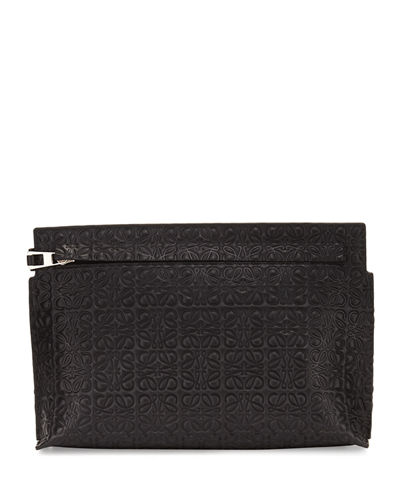 Medium Embossed Leather T Pouch Bag