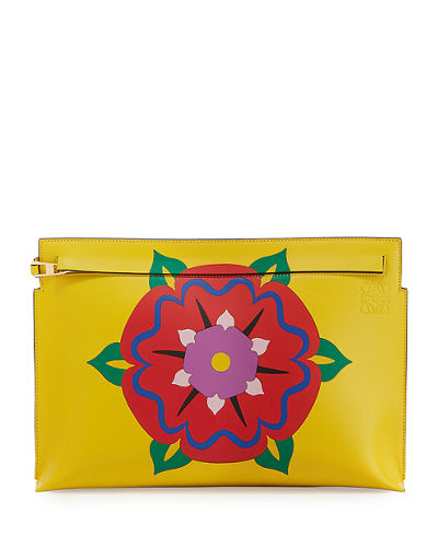 Floral-Print Leather T Pouch
