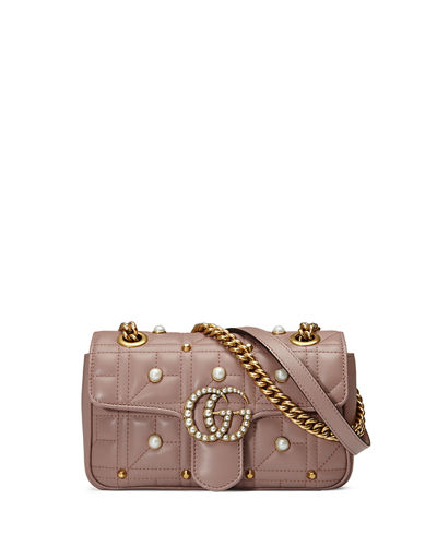 GG Marmont 2.0 Pearly Quilted Mini Bag, Nude