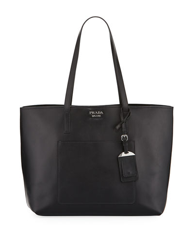 City Calf Large Leather Shopping Tote Bag