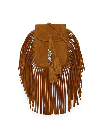 Anita Mini Flat Suede Shoulder Bag with Fringe