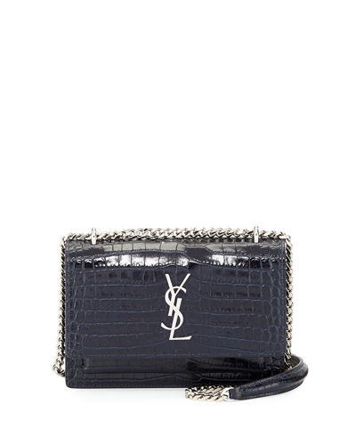 Monogram Sunset Crocodile-Embossed Wallet on Chain