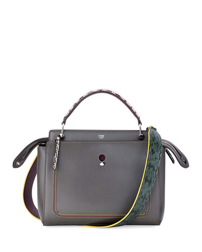 Dotcom Medium Snakeskin-Trim Satchel Bag