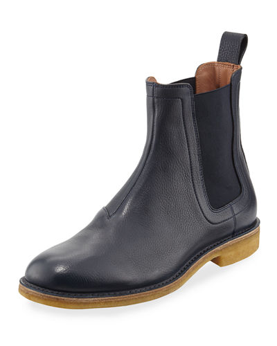 Grained Leather Chelsea Boot