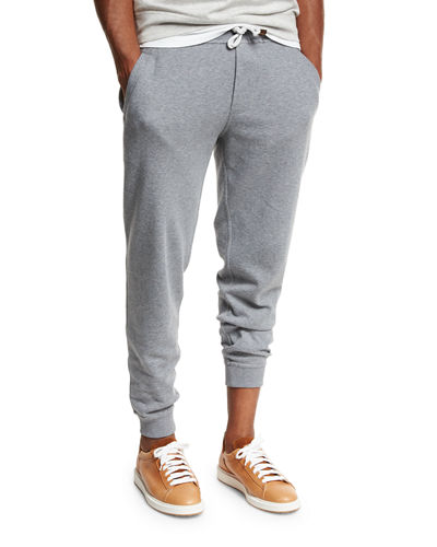 Drawstring Knit Spa Sweatpants, Blue/Gray