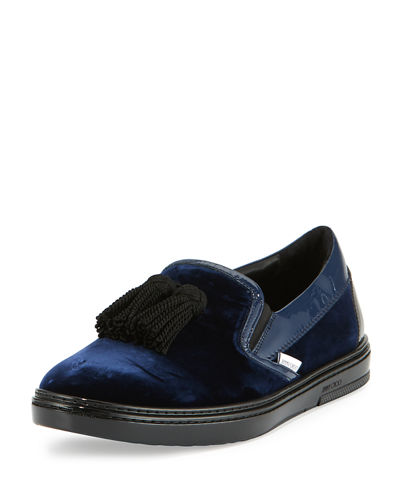 Jimmy Choo Griffin Velvet Tassel Slip-On Sneaker