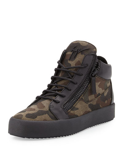 Men's Felt & Leather Mid-Top Sneaker