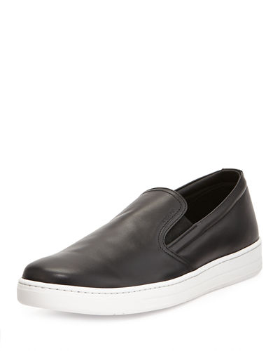 Prada Leather Slip-On Sneaker
