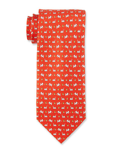 Dogs & Butterflies Silk Tie