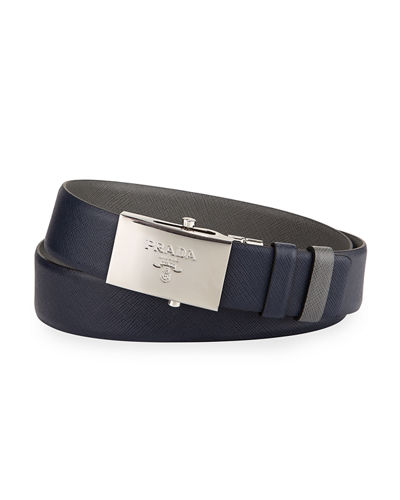 Reversible Leather Plaque Belt, Blue/Gray