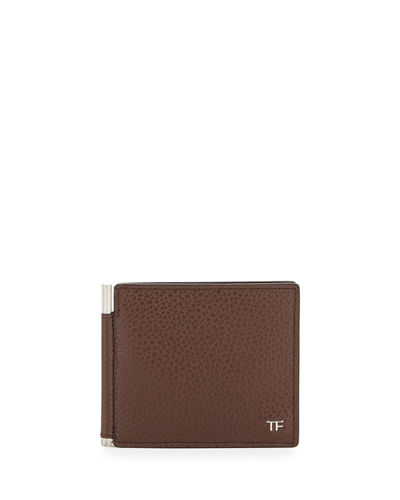 Men's Leather Bi-Fold Wallet with Money Clip