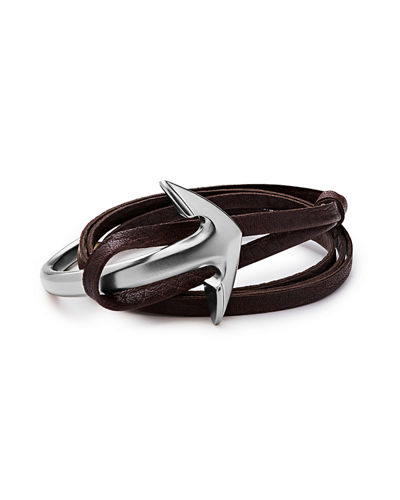 Men's Anchor Half-Cuff Leather Bracelet