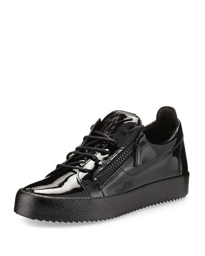 Men's Patent Leather Low-Top Sneaker, Red