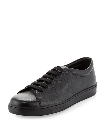Stamped Leather Low-Top Sneaker