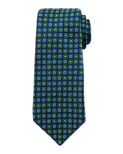 Diamond & Medallion-Printed Silk Tie