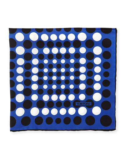 Irregular Dot-Print Silk Pocket Square