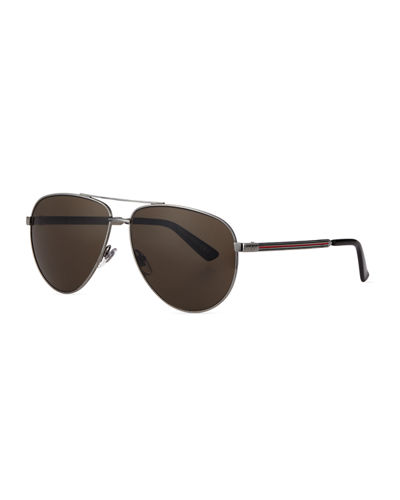 Metal Aviator Sunglasses w/Web