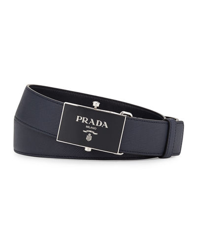 Saffiano Leather Plaque Belt
