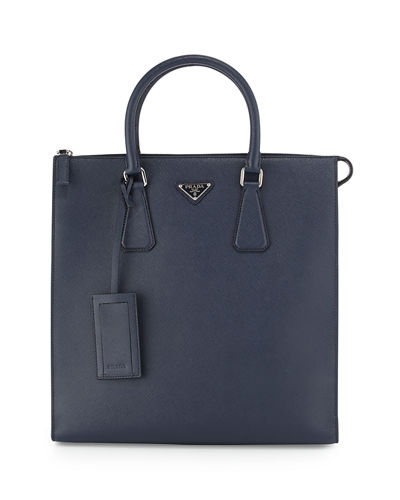 Saffiano Leather Zip-Top Tote Bag