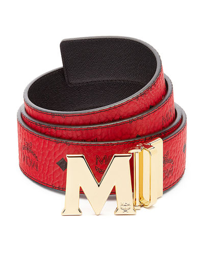MCM Claus Golden Reversible Visetos/Saffiano Belt
