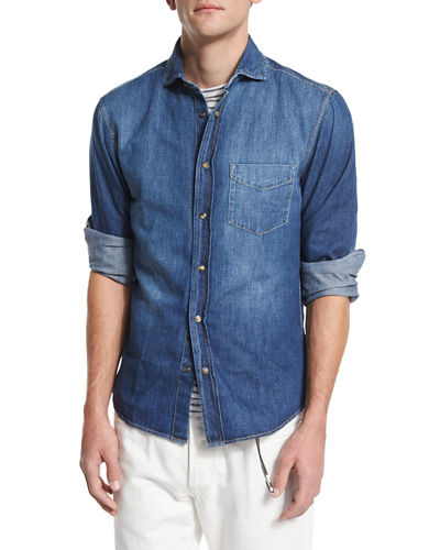 Light-Wash Long-Sleeve Denim Shirt
