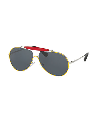Metal & Enamel Aviator Sunglasses
