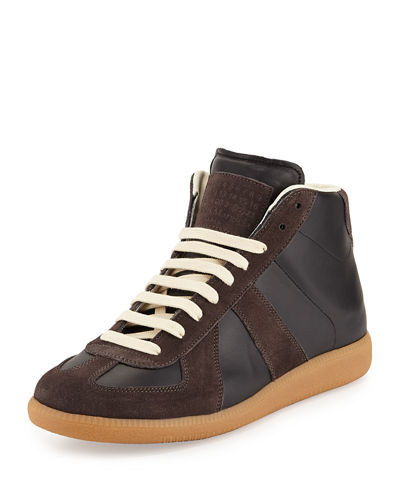 Replica Mid-Top Leather & Suede Sneaker