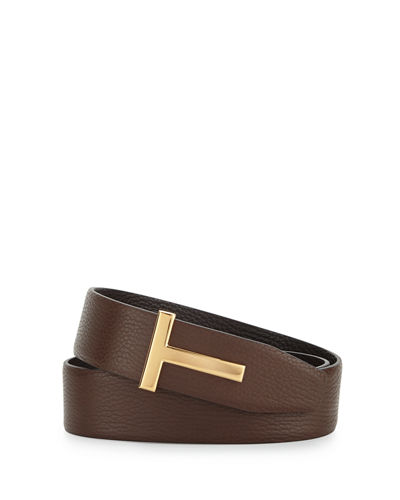 Reversible Grained Leather Logo Belt