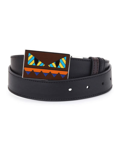 Fendi Striped Monster-Face Leather Belt