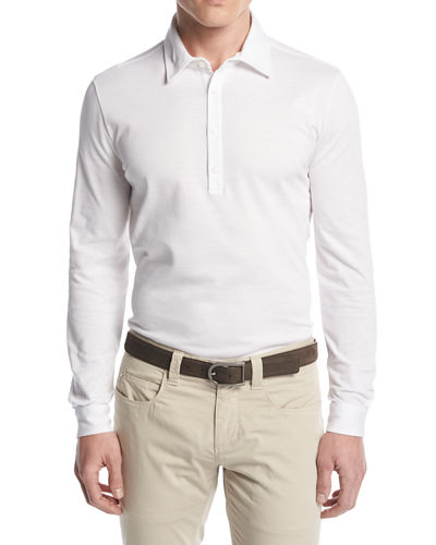 Long-Sleeve Pique Polo Shirt
