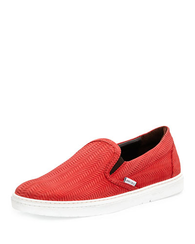 Grove Men's Woven Leather Slip-On Sneaker