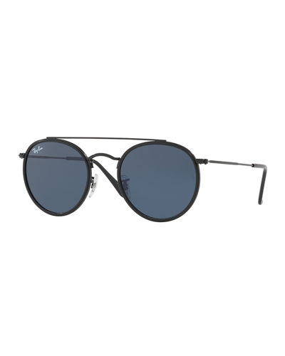 Men's RB3647 Round Double-Bridge Sunglasses