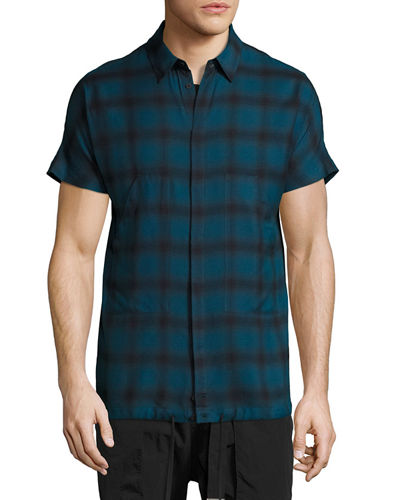 Check Short-Sleeve Drawstring-Hem Shirt