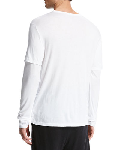 Double-Layer Cotton-Modal Long-Sleeve T-Shirt
