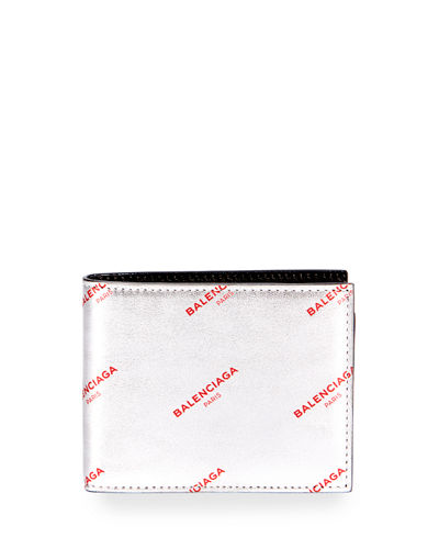 Metallic Leather Logo Wallet