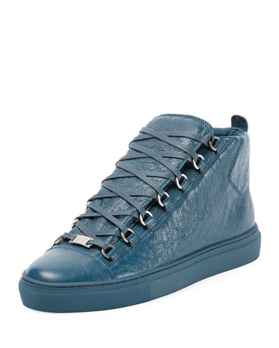 Men's Arena Leather Mid-Top Sneaker, Blue