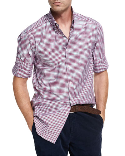 Multi-Check Twill Cotton Shirt, Red/White