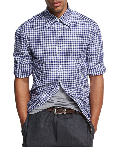 Madras Plaid Cotton Shirt, Blue/White